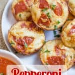 Pepperoni Pizza Bites are a cross between a bagel bite and a pizza muffin and they're ready to bake in just a few minutes.