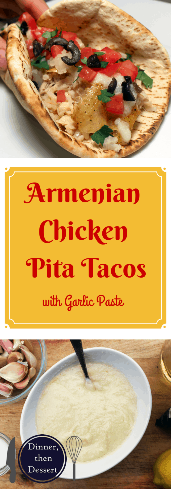 Armenian Garlic Rotisserie Chicken Pita Tacos are delicious crispy chicken in pita bread with garlic paste, lettuce, tomato and pickled veggies. Like a homemade gyro!