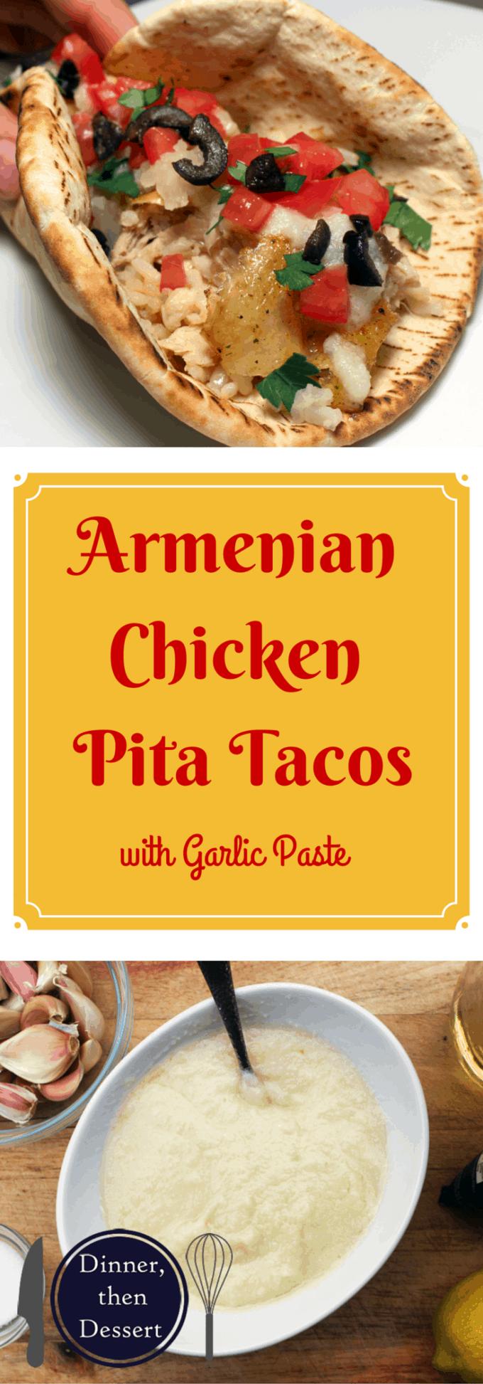 Armenian Garlic Rotisserie Chicken Pita Tacos Are Delicious Crispy Chicken In Pita Bread With Garlic Paste