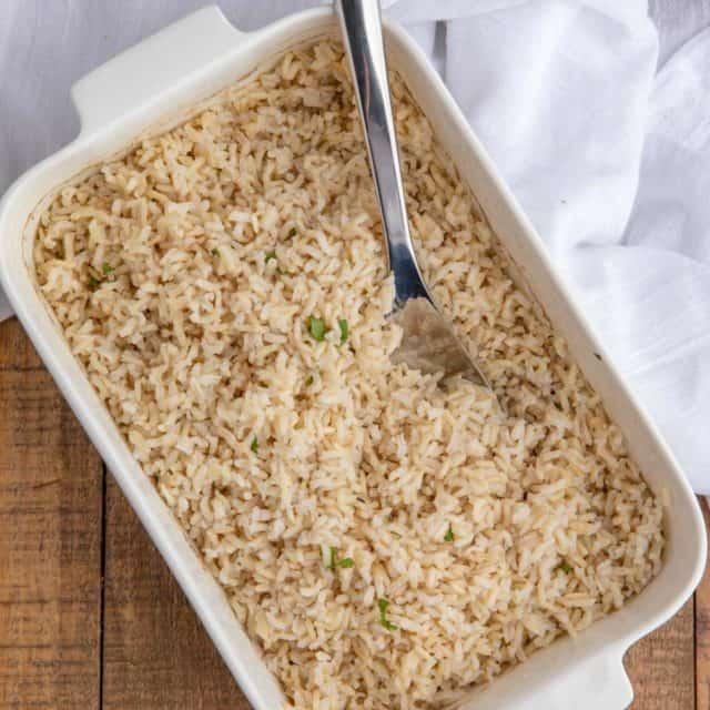 Cooked Brown Rice in Rectangle Dish