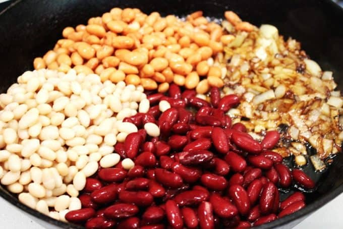 Beans set out for baked beans recipe