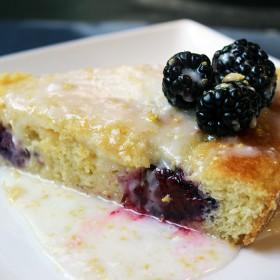 Lemon Cornmeal Cake with Blackberries and Lemon Glaze