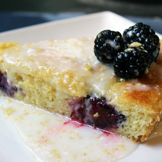 Blackberry and Lemon Glazed Cornmeal Cake