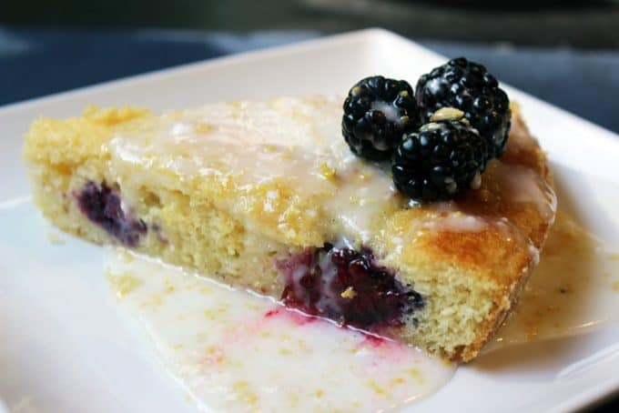 Blackberry and Lemon Glazed Cornmeal Cake