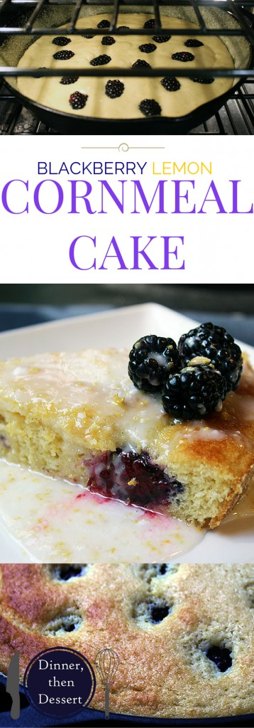 A delicious light sweet cornbread cake with fresh blackberries dotted on top and a luscious lemon glaze.