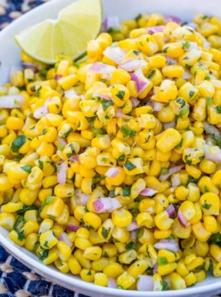 A delicious fresh, bright corn salad just like the salsa served up at Chipotle.