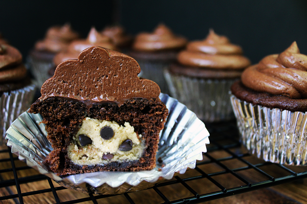 Salted Dark Chocolate Cupcakes stuffed with Chocolate Chip Cookie ...