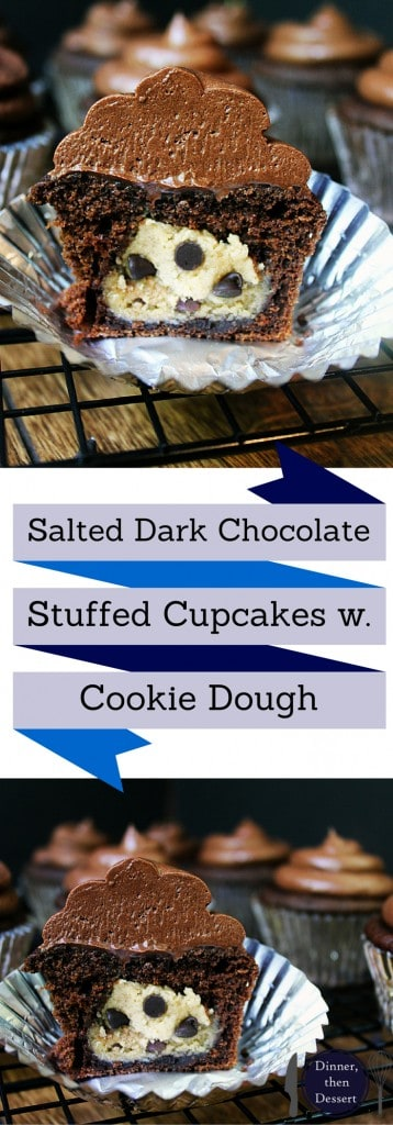 Delicious Salted Dark Chocolate Cupcakes filled with Chocolate Chip Cookie Dough. Deliciously rich, filled with creamy cookie dough filling.