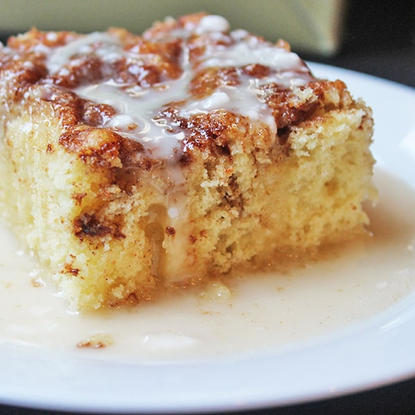 Square crop photo of cinnamon roll coffee cake