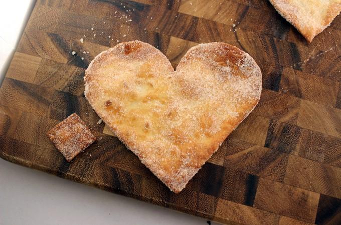 Cinnamon Sugar Crispy Sopapilla Hearts