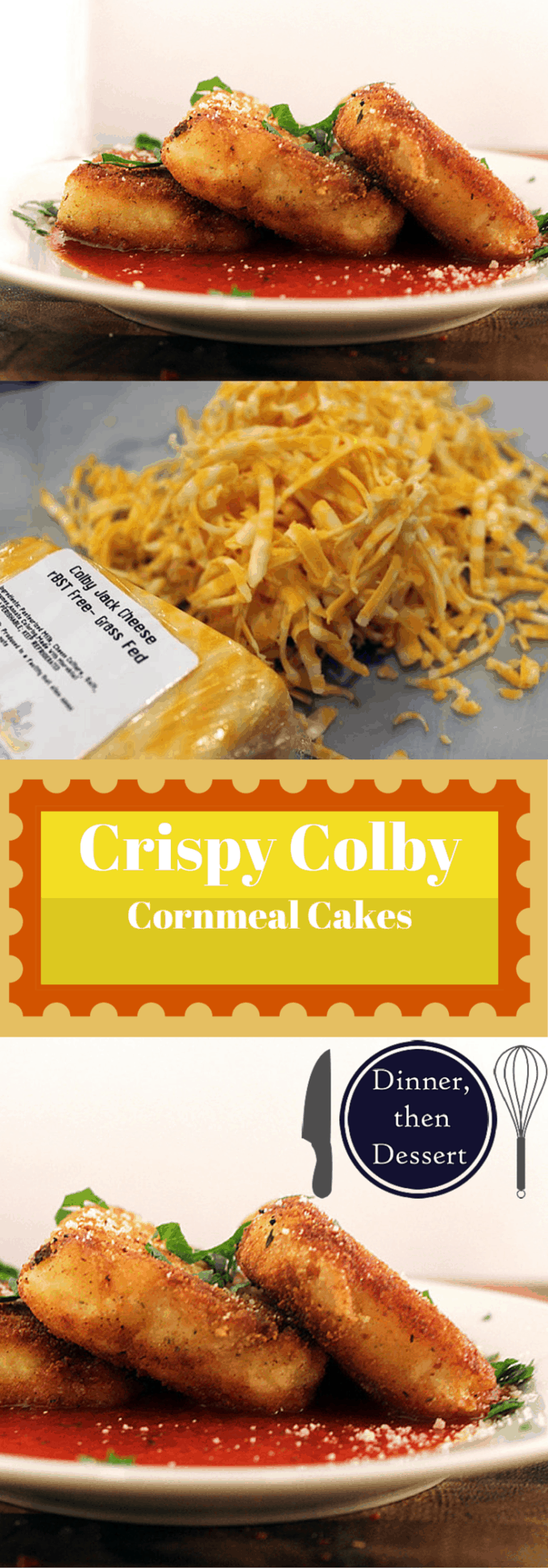 Delicious crispy cheesy polenta cakes with tomato sauce. They're like a cross between a cheese stick and cornbread.