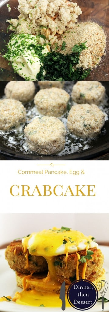 Cornmeal Pancake recipe topped with crab cakes and an easy over egg. The sauce on top is a spicy rémoulade sauce, but you can use a hollandaise or spicy cream sauce.