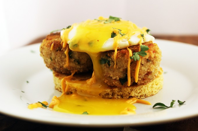 Crab Cake with Over Easy Egg and Cornmeal Pancake