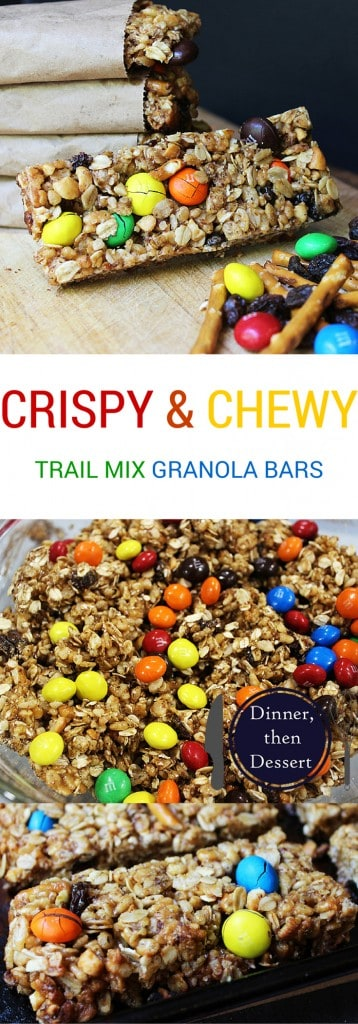 Crispy & Chewy Trail Mix Granola bars have all the same flavors of your favorite trail mix and are a perfect snack or meal substitute in a pinch.