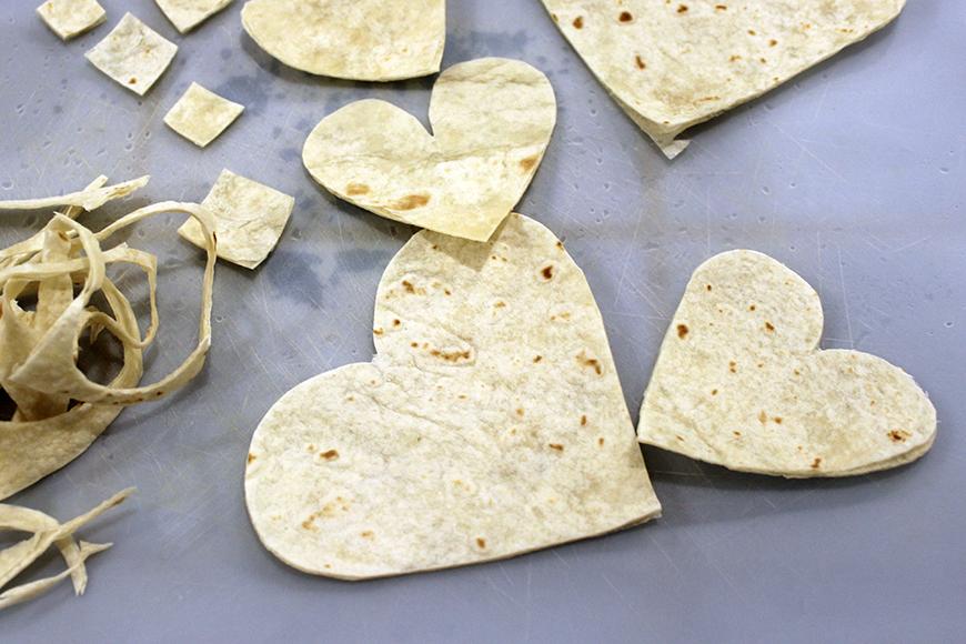 Cut Tortilla Hearts