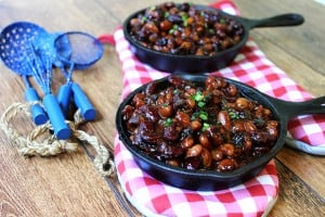 These baked beans are sticky, salty [from the delicious bacon!] and sweet and a perfect addition to your BBQ or picnic