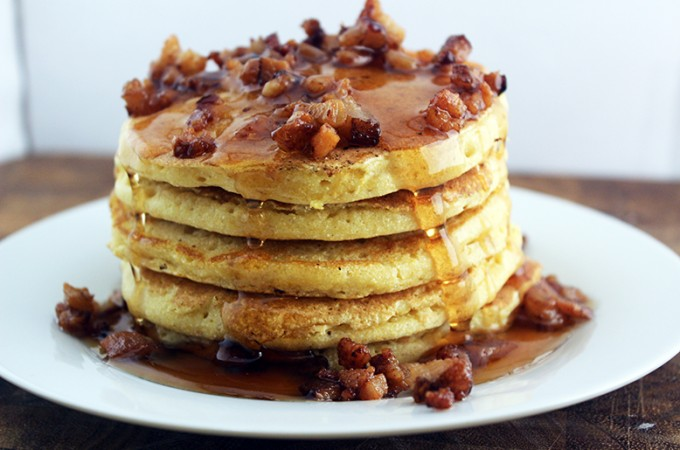 Honey Cornmeal Pancakes with Bacon & Honey Butter Drizzle