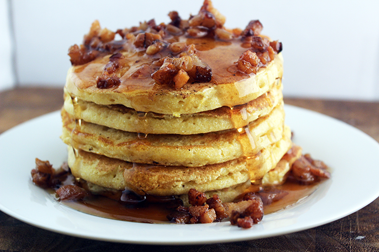Honey Cornmeal Pancakes with Bacon and Honey Butter Drizzle