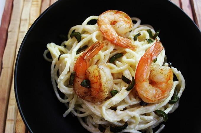 Quick Jalapeno Alfredo Shrimp Pasta
