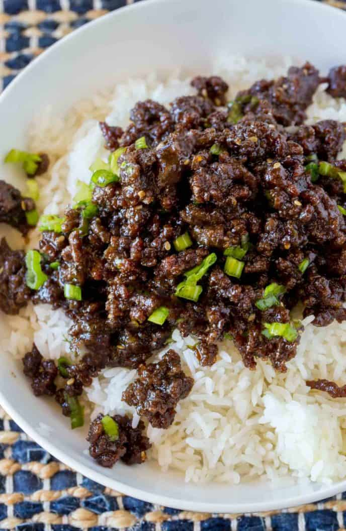 Korean ground beef on rice