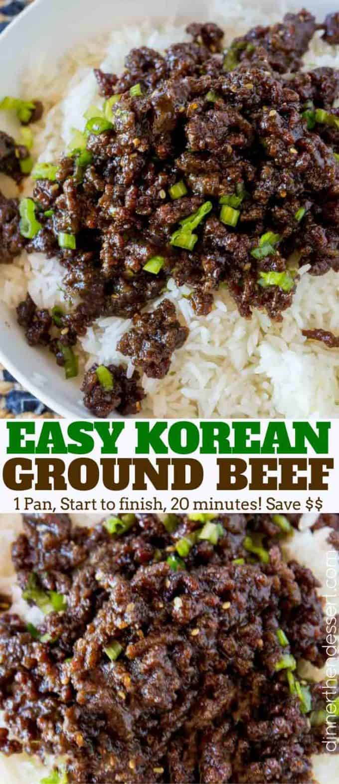 Sweet and Spicy Korean Ground Beef with all the flavors of your favorite Korean BBQ but for a third of the cost and kid friendly!