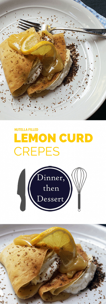 Nutella Filled Lemon Curd Crepes with Whipped Cream