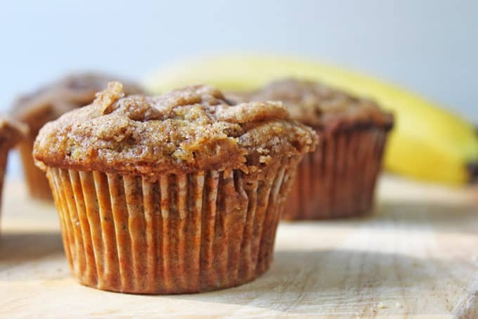 Best banana muffins with buttery, sugary crumb on top