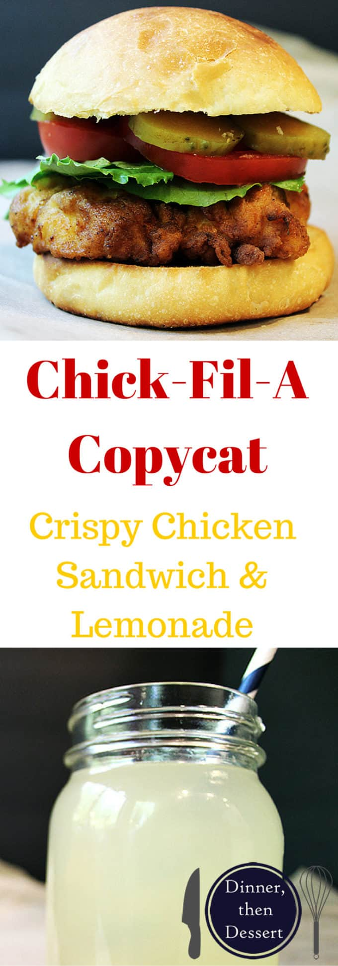 Chick-Fil-A Crispy Chicken Sandwich & Lemonade - The crispy, seasoned fried chicken sandwich we all love washed down with the best restaurant lemonade there is! Save the trip and the wait in the long lines!