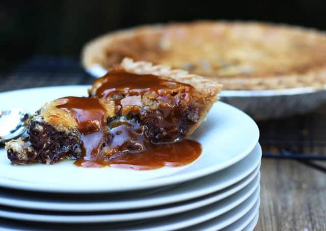 A deliciously melty, warm, chocolate chip caramel cookie baked into a buttery crisp pie crust. Serve alone (this is a very rich pie!) or with ice cream or whipped cream.