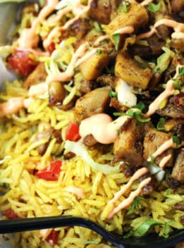 Halal cart chicken and rice copycat dinner then dessert halal carts boldly flavored middle eastern chicken and fragrant turmeric rice with a spicy yogurt sauce forumfinder Images