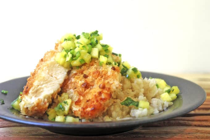This chicken dish is crusted with macadamia nuts and topped with pineapple jalapeno salsa. Go on a tropical summer vacation in your kitchen! In only 30 minutes!