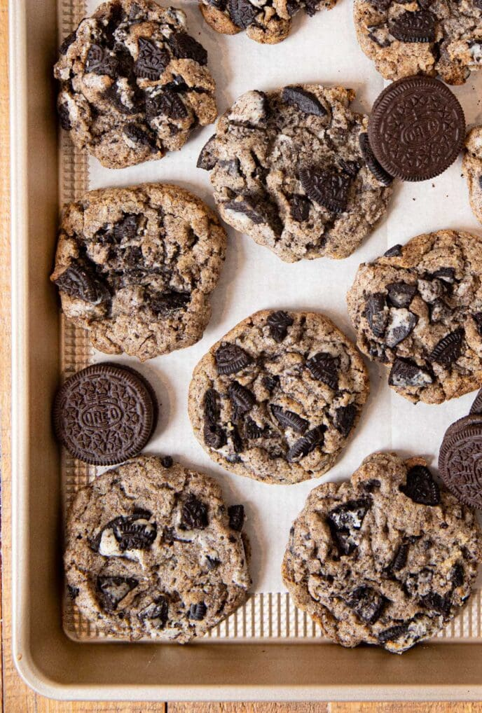 Oreo Chunk Cookies on baking sheet