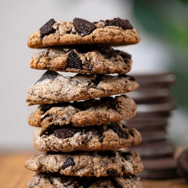 Oreo Chunk Cookies in stack