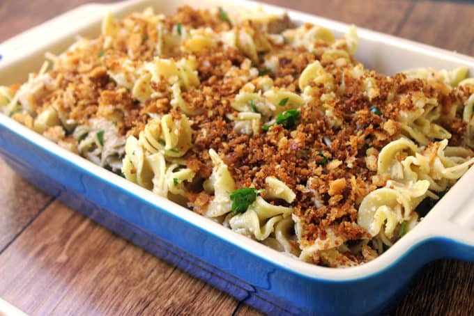 Baked with lots of Parmesan cheese, this pasta is full of classic Caesar salad flavors and topped with a deliciously rich buttery cracker crust. You can also serve this pasta unbaked as a pasta salad at a picnic!