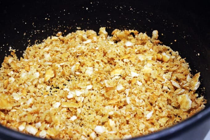 Toasting cracker crumbs for Parmesan Shrimp Pasta