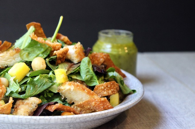 Tropical Luau Macadamia Chicken Salad with Pineapple Vinaigrette