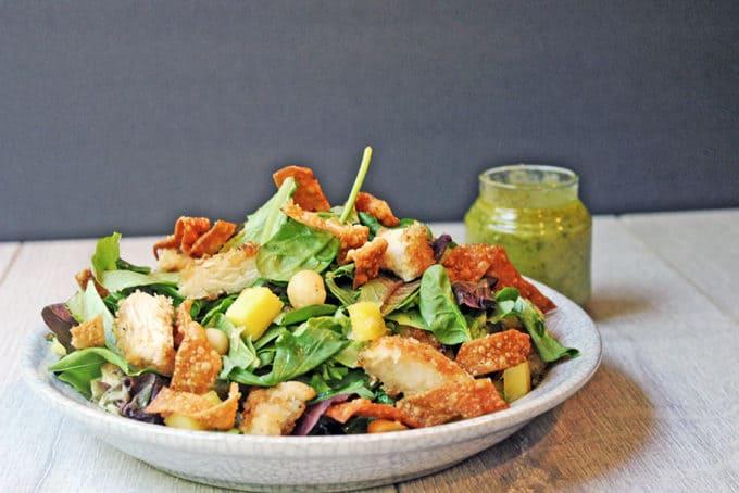 Tropical Luau Salad with Crispy Wontons