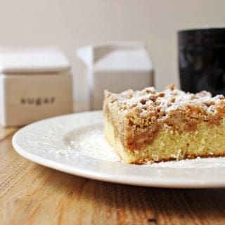 Delicious, classic NY Crumb Coffee Cake just like the kind you would find in your favorite coffee shop, a tender cake topped with large chunks of cinnamon sugar goodness!