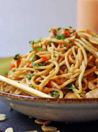 These 5 ingredient noodles are salty and spicy, full of umami and creamy peanut butter. From start to finish in 10 minutes, these are a perfect quick fix when you've had a long day.
