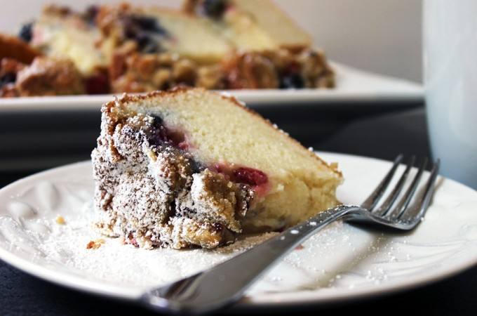 Triple Berry Sour Cream Crumb Cake