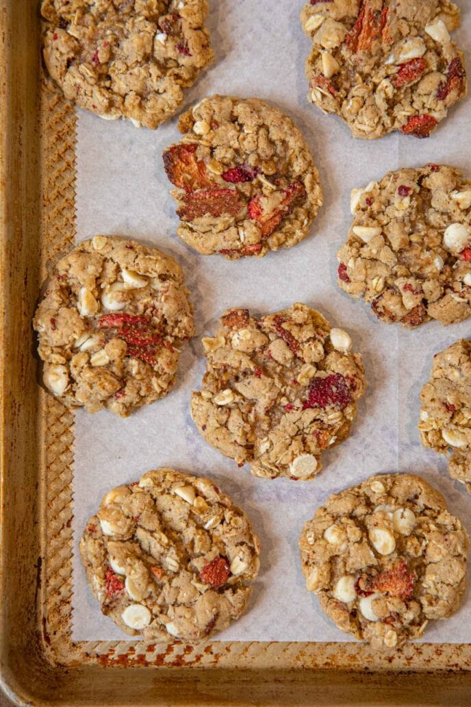 Strawberry White Chocolate Oatmeal Cookies on baking sheet
