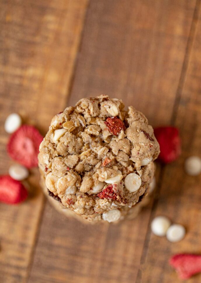 Strawberry White Chocolate Oatmeal Cookies in stack
