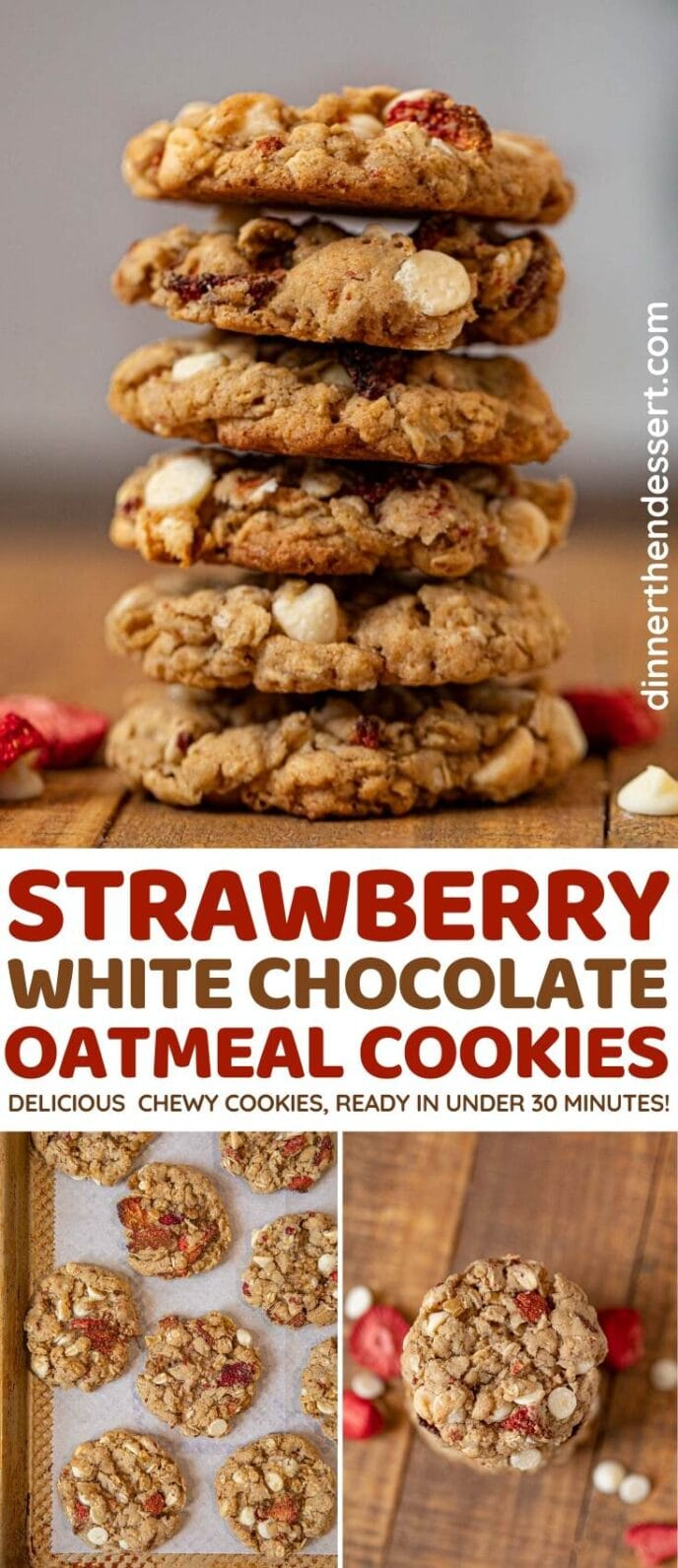 Strawberry White Chocolate Oatmeal Cookies collage