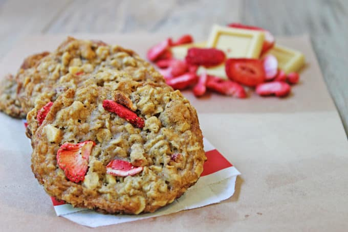 Strawberries, White Chocolate and Oats make for a delicious cookie that is low in calories and fat! With only 1/4 cup of butter, these cookies are still chewy and rich despite being a light recipe!