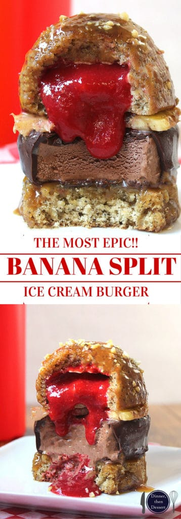 "Banana Split Ice Cream Burger with homemade Klondike bar patty, banana cupcake bun, pineapple ""cheese"" and strawberry ""ketchup."" A showstopper."