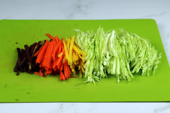 Sushirrito veggies on cutting board