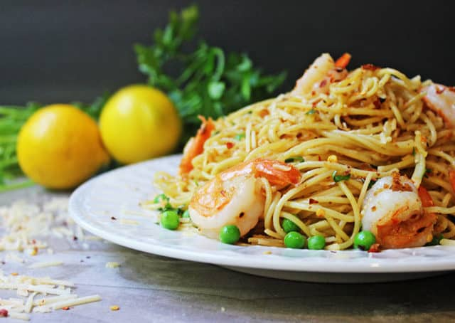 parmesan shrimp pasta with peas and lemon