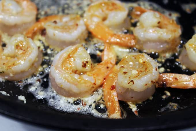 Cooked Shrimp in skillet for Shrimp Scampi Pasta dish