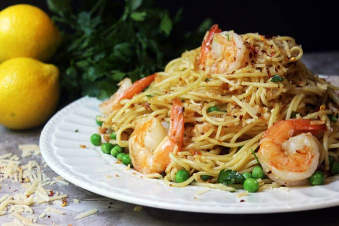 Shrimp Scampi Pasta with peas, lemon and parmesan
