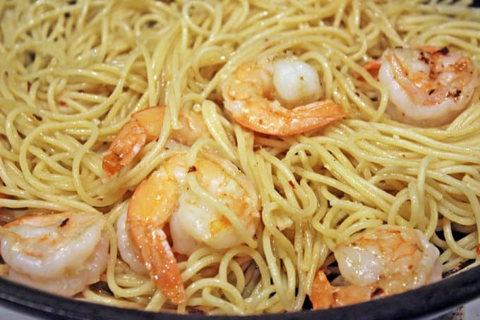 Parmesan Shrimp Pasta tossed in skillet